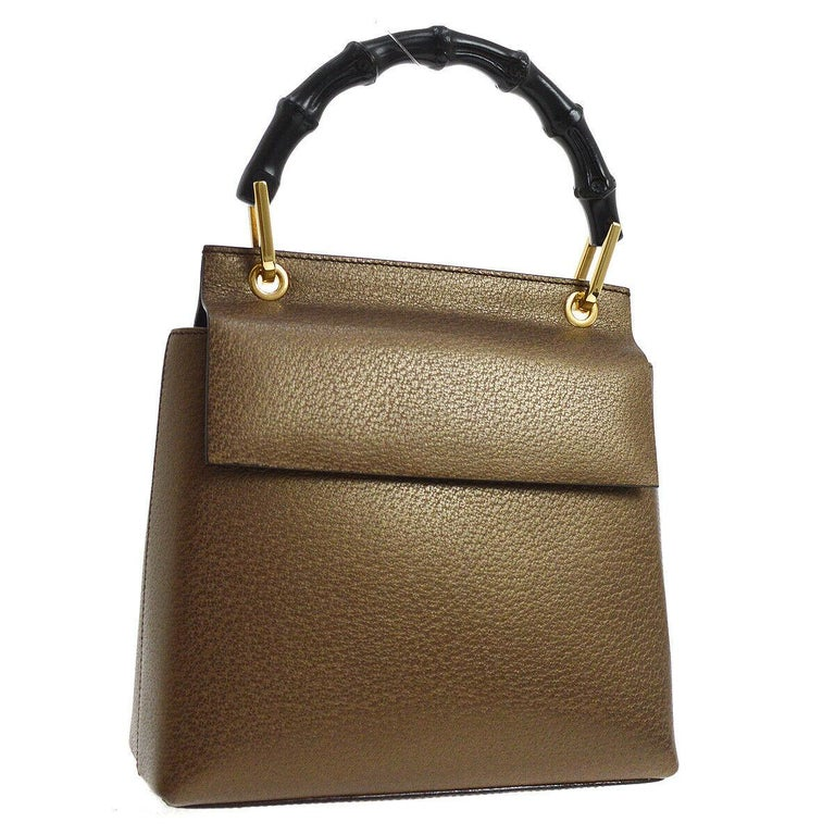 d2dbaf8d63d9 Gucci Bronze Leather Bamboo Top Handle Satchel Kelly Style Evening Flap Bag  For Sale