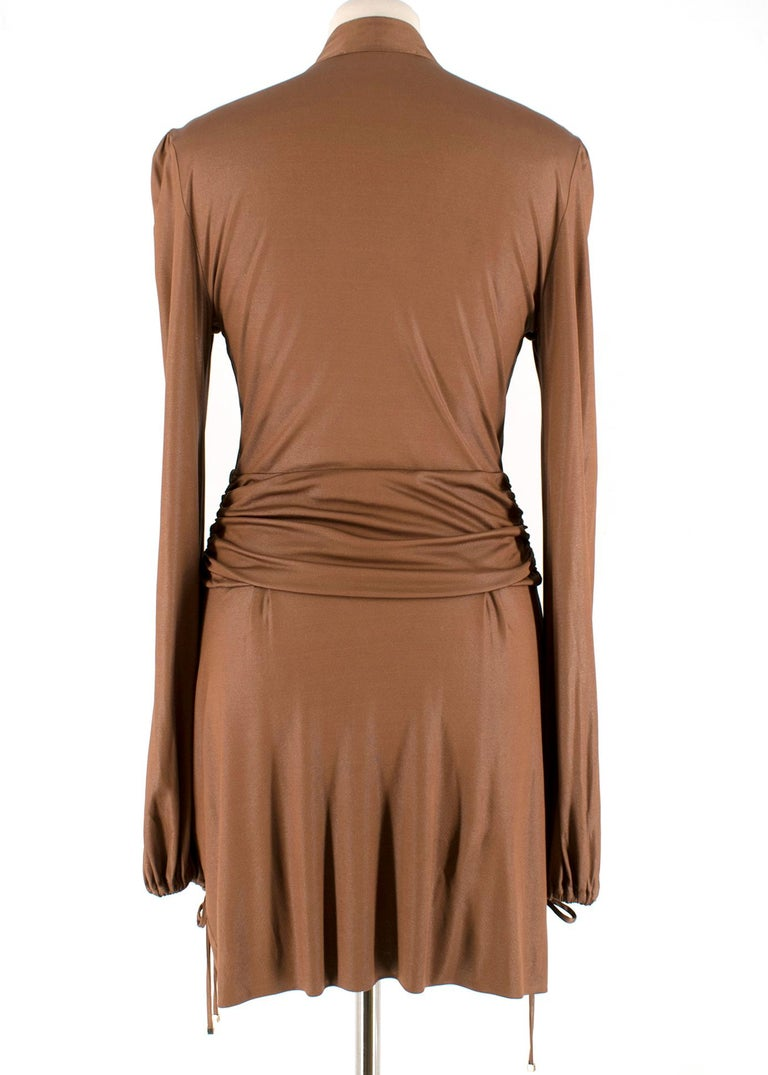 Brown Gucci Bronze Metallic Pussy Bow Draped Dress - Size US 6 For Sale