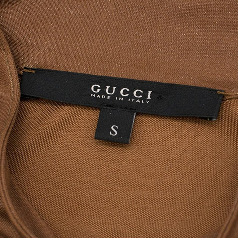 Women's Gucci Bronze Metallic Pussy Bow Draped Dress - Size US 6 For Sale