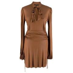 Gucci Bronze Metallic Pussy Bow Draped Dress - Size US 6