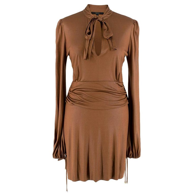 Gucci Bronze Metallic Pussy Bow Draped Dress - Size US 6 For Sale