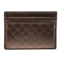 Gucci Bronze Nice Microguccissima Leather Card Holder