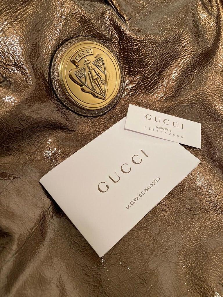 Gucci Bronze Patent Leather Hysteria Bag For Sale 6