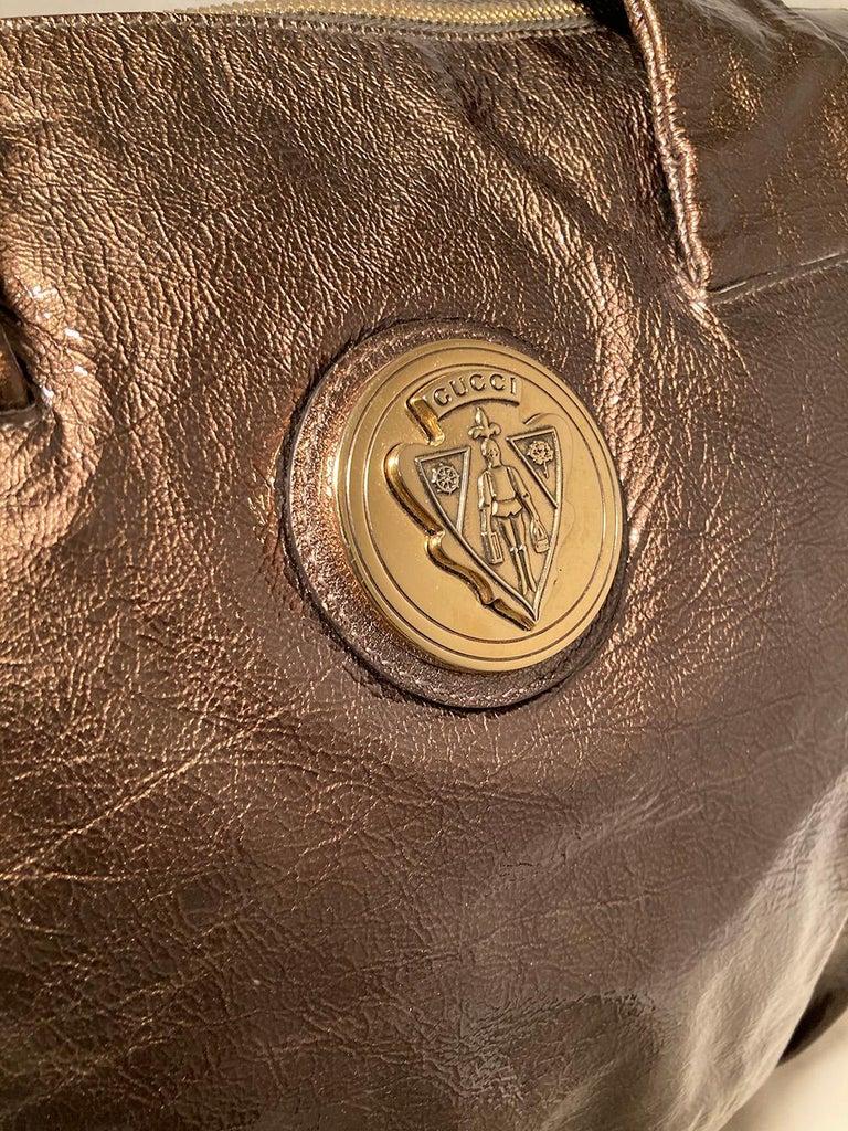 Gucci Bronze Patent Leather Hysteria Bag For Sale 1