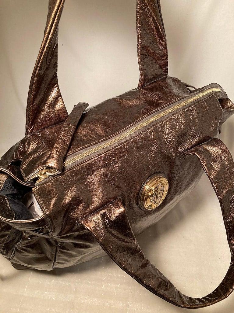 Gucci Bronze Patent Leather Hysteria Bag For Sale 2
