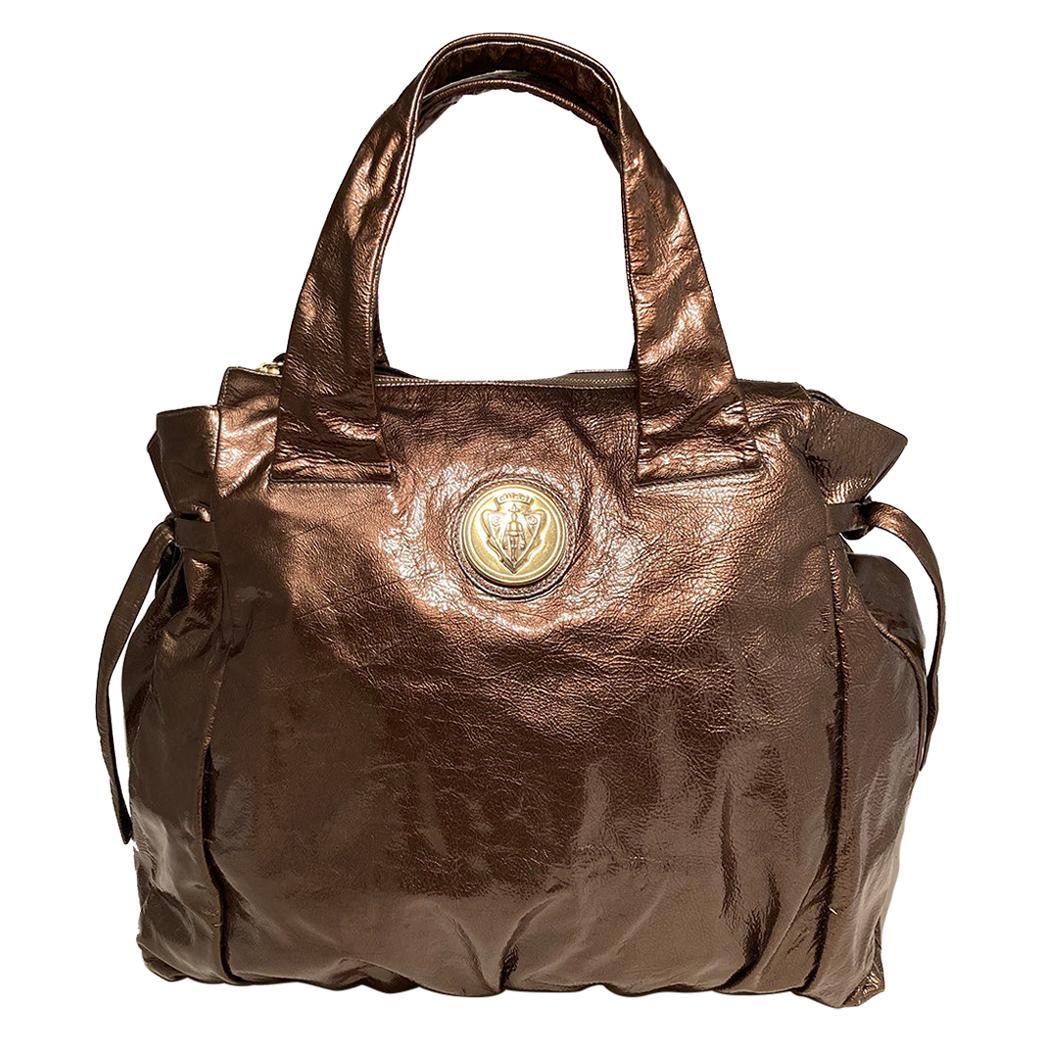 Gucci Bronze Patent Leather Hysteria Bag