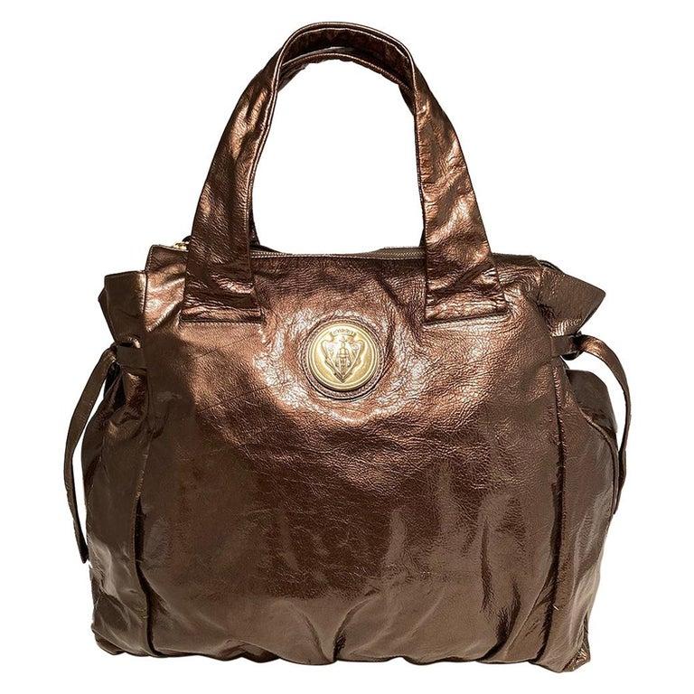 Gucci Bronze Patent Leather Hysteria Bag For Sale