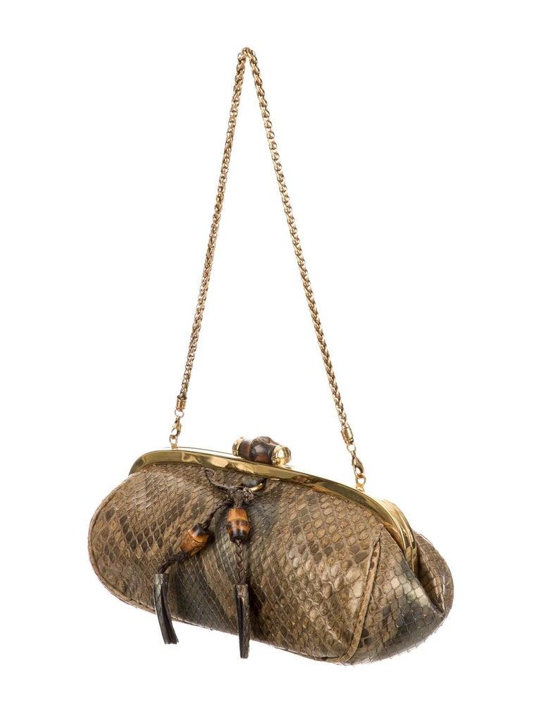 Brown Gucci Bronze Snakeskin Exotic Bamboo Party Evening Envelope Shoulder Clutch Bag For Sale