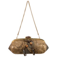 Gucci Bronze Snakeskin Exotic Bamboo Party Evening Envelope Shoulder Clutch Bag