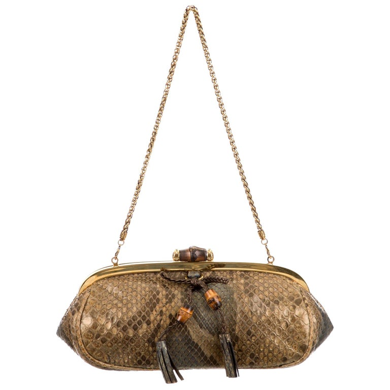 Gucci Bronze Snakeskin Exotic Bamboo Party Evening Envelope Shoulder Clutch Bag For Sale