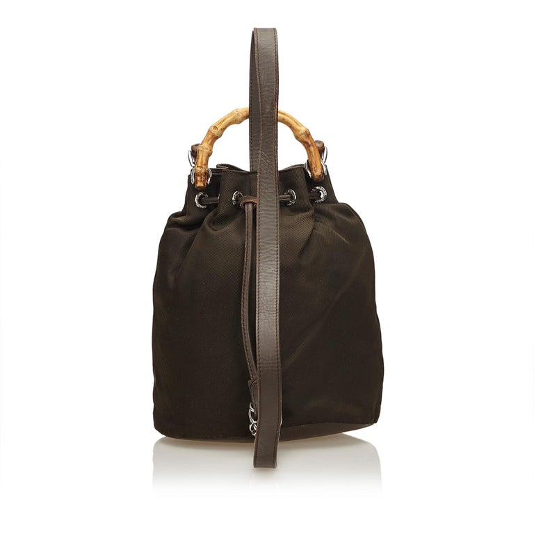 77ec05b1fedda0 Black Gucci Brown Bamboo Nylon Drawstring Backpack For Sale