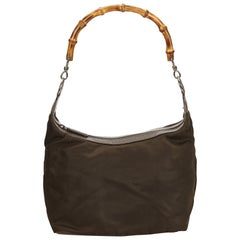 Gucci Brown Bamboo Nylon Handbag