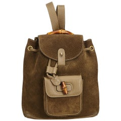 Gucci Brown Bamboo Suede Drawstring Backpack