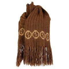 Gucci Brown Beige Alpaca Wool Monogram Scarf 1970s
