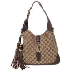 Gucci Brown/Beige Canvas and Leather New Jackie Hobo