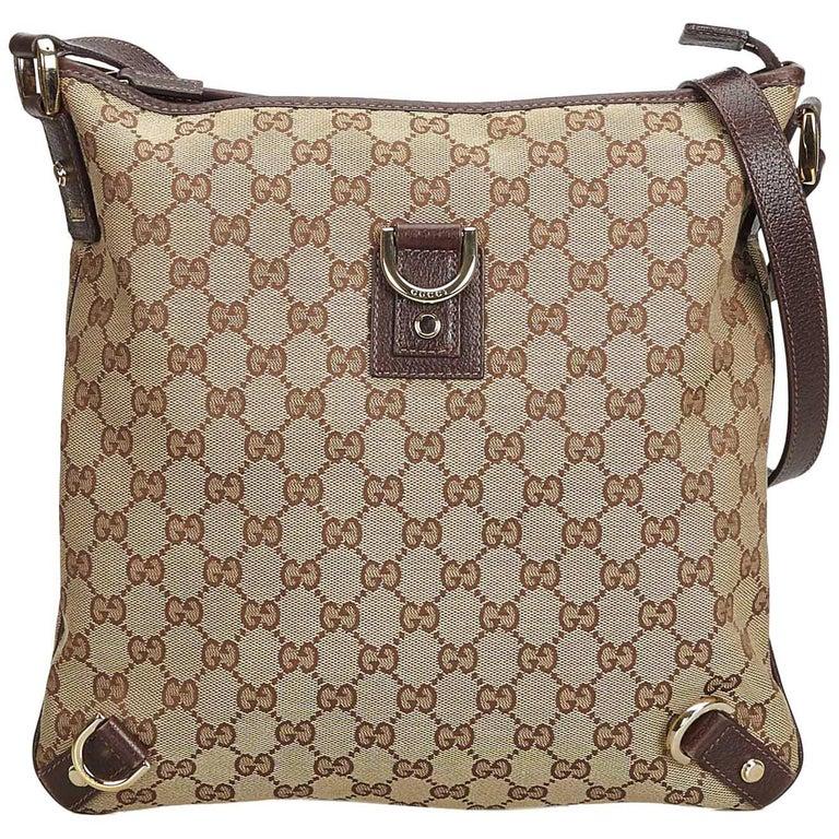 df04da65e Gucci Brown Beige Canvas Fabric GG Abbey Crossbody Bag Italy
