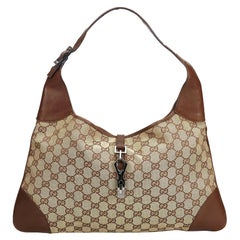 Gucci Brown Beige Canvas Fabric GG Jackie Shoulder Bag Italy