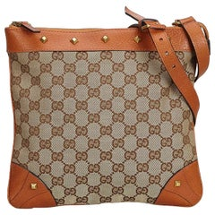aa4af6d2333a Gucci Brown Beige Canvas Fabric GG Nailhead Crossbody Bag Italy