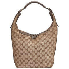 e612121f88b Gucci Brown Beige Canvas Fabric GG Shoulder Bag Italy
