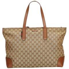 Gucci Brown Beige Canvas Fabric GG Web Tote Bag Italy w/ Dust Bag