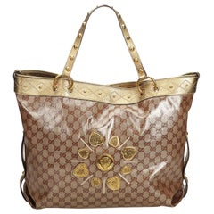 6593a1ffc70db6 Gucci Brown Beige Coated Canvas Fabric GG Coated Jacquard Irina Tote Bag  Italy
