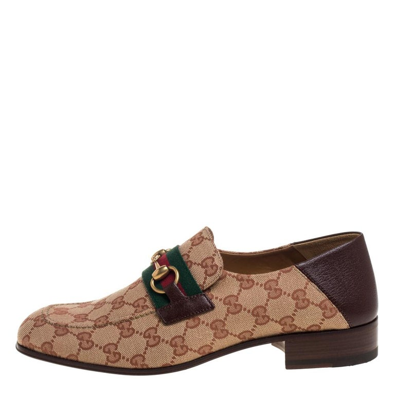 Gucci Brown/Beige GG Canvas And Leather Horsebit Web Slip On Loafers Size 42 1