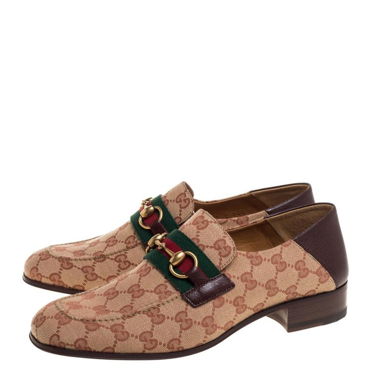 Gucci Brown/Beige GG Canvas And Leather Horsebit Web Slip On Loafers Size 42 3