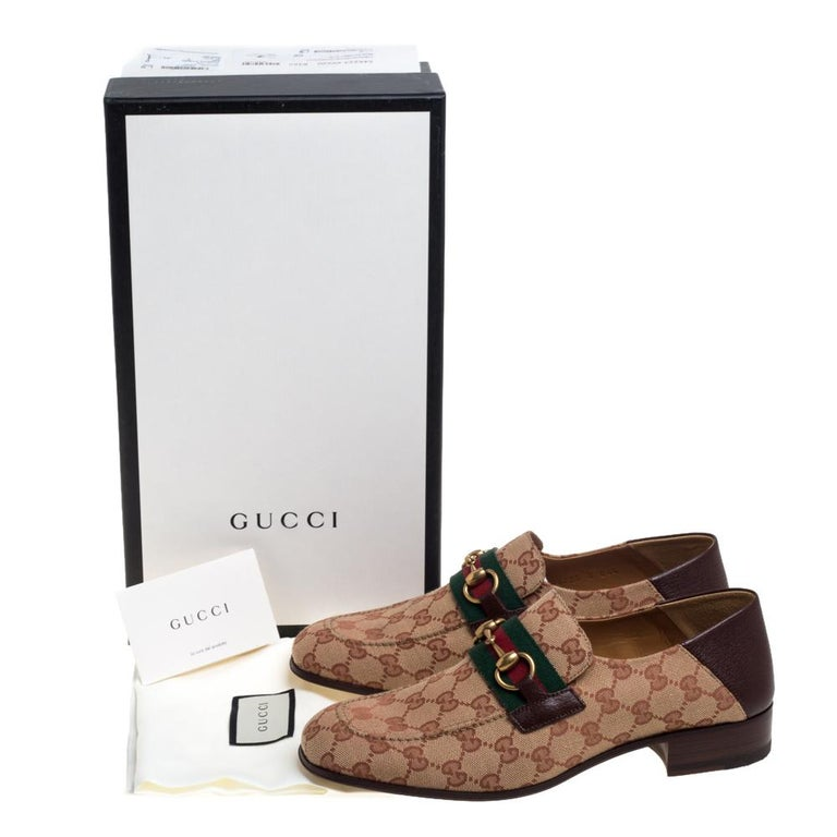 Gucci Brown/Beige GG Canvas And Leather Horsebit Web Slip On Loafers Size 42 4