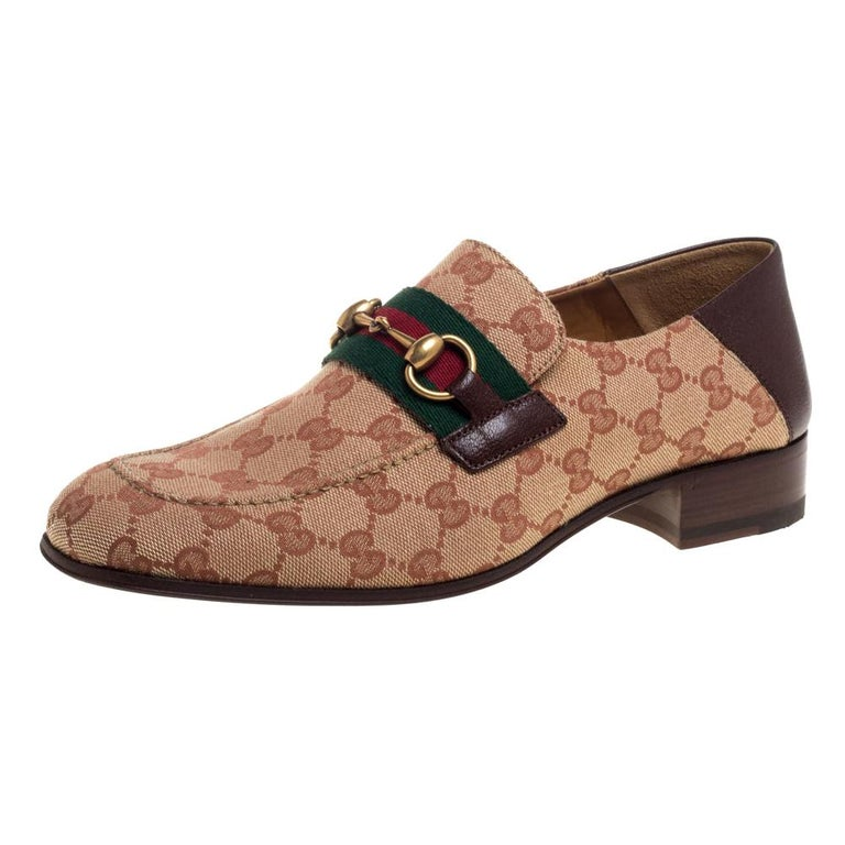 Gucci Brown/Beige GG Canvas And Leather Horsebit Web Slip On Loafers Size 42