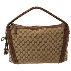 Gucci Brown/Beige GG Canvas and Leather Medium Bella Hobo