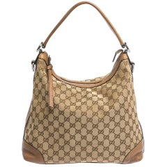 Gucci Brown/Beige GG Canvas and Leather Miss GG Original Hobo