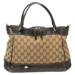 Gucci Brown/Beige GG Canvas and Leather Small Mayfair Bow Tote