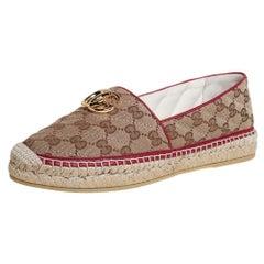 Gucci Brown/Beige GG Canvas Flat Espadrilles Size 39.5