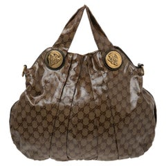 Gucci Brown/Beige GG Crystal Canvas and Leather Large Hysteria Hobo