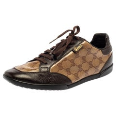 Gucci Brown/Beige GG Crystal Canvas And Leather Low Top Sneakers Size 40