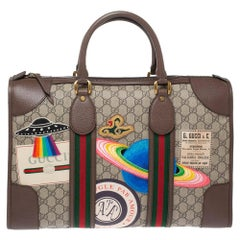 Gucci Brown/Beige GG Supreme Canvas and Leather Small Courrier Soft Duffel Bag