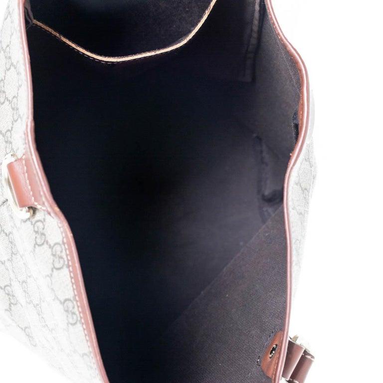 Gucci Brown/Beige GG Supreme Canvas Open Tote For Sale 4