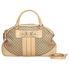 Gucci Brown Beige Jacquard Fabric Diamante Horsebit Catherine Satchel Italy