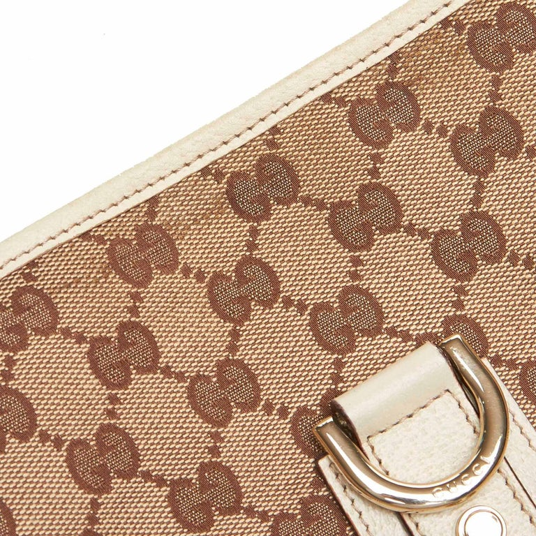 1cd6bc6e0 Gucci Brown Beige Jacquard Fabric GG Abbey Crossbody Bag Italy For Sale 6