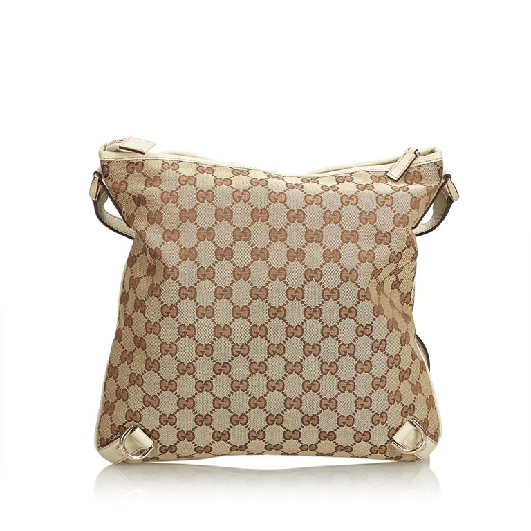 9ec06d141 Gucci Brown Beige Jacquard Fabric GG Abbey Crossbody Bag Italy In Good  Condition For Sale In