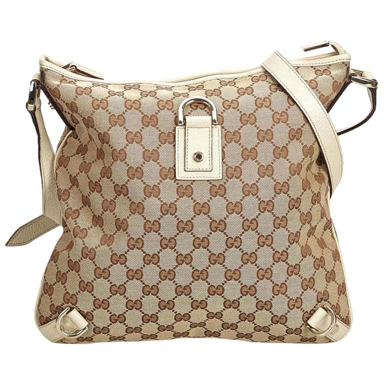 f8e00b868 Gucci Brown Beige Jacquard Fabric GG Abbey Crossbody Bag Italy For Sale