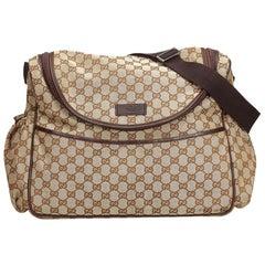 Gucci Brown Beige Jacquard Fabric GG Diaper Bag Italy w/ Dust Bag