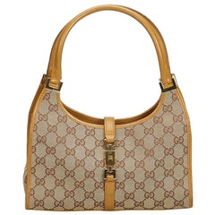 34bcab533c Gucci Brown Beige Jacquard Fabric GG Jackie Handbag Italy w  Dust Bag