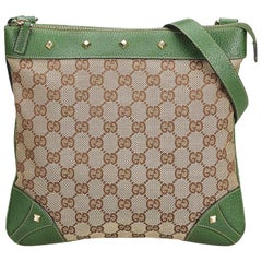 Gucci Brown Beige Jacquard Fabric GG Nailhead Crossbody Bag Italy
