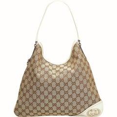 Gucci Brown Beige Jacquard Fabric GG New Britt Tote Italy w/ Dust Bag