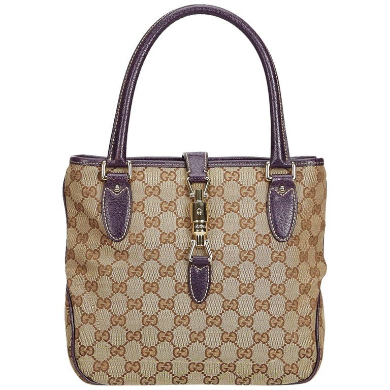 5cf53775c Gucci Brown Beige Jacquard Fabric GG New Jackie Tote Italy w/ Dust Bag For  Sale