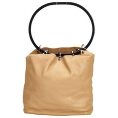Gucci Brown Beige Leather Ring Handle Shoulder Bag Italy w/ Dust Bag