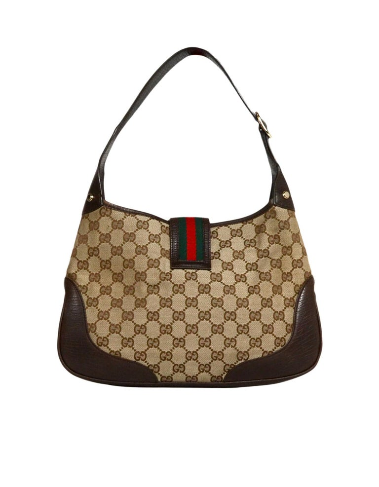 124747e104c2bc Gucci Brown/Beige Monogram Canvas Jackie-O Bag W/ Web and G Buckle ...