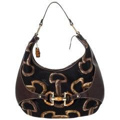 Gucci Brown/Black Printed Canvas and Leather Amalfi Horsebit Hobo