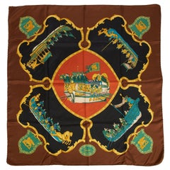 Gucci Brown Black Silk Ships Scarf
